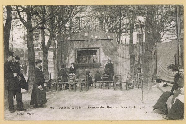 A sparsely attended 'Guignol' in the square des Batignolles, in the 17th arrondissement, Paris