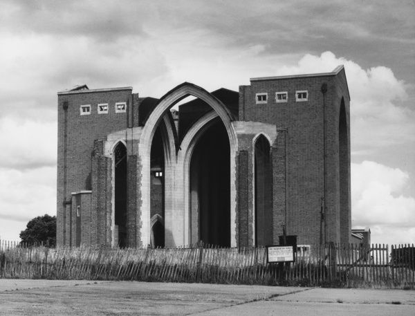 The partially built Guildford Cathedral, Surrey, England, photographed during World War Two when the war suspended building works. Started in 1936, finally completed 1961