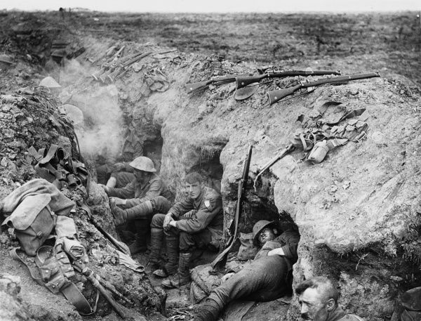 Welsh Guards rest in a reserve trench during the Battle of Guillemont, 3rd - 6th September. The village of Guillemont was taken, part of the very slow progress made during the Battle of the Somme