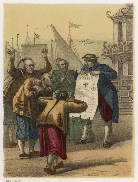 Gulliver, arriving in Japan, shows the officials his letter from the King of Luggnagg, which impresses them mightily