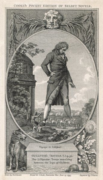 The Lilliputian troops marching between the legs of Gulliver. Date: First published: 1726
