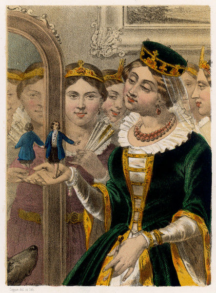 The queen admires his reflection in a mirror alongside her own