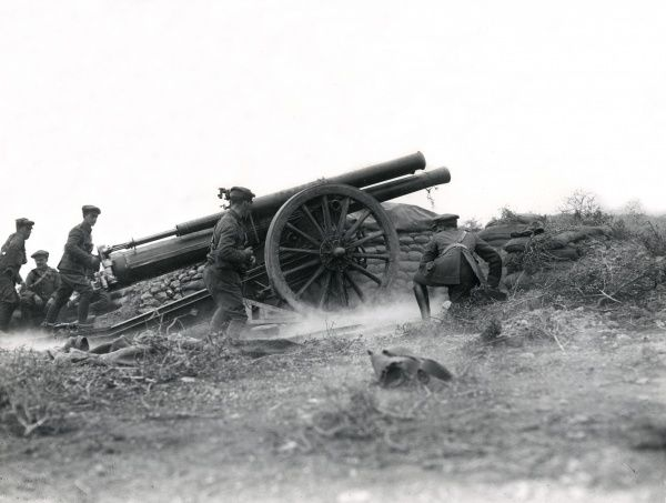 Gunners in action with a 60-pound gun on the Salonika Front during the First World War. The gun's recoil was 56 inches