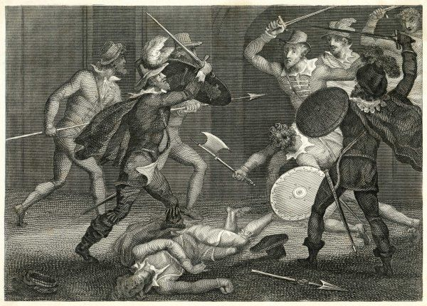 The conspirators attempt to escape from Holbeach. Percy and Catesby are slain