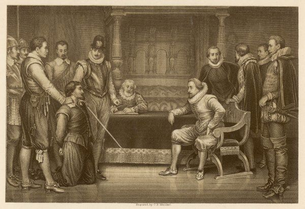 Guy Fawkes is interrogated by James I and his council