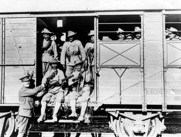 Gurkhas arriving on the Western Front by troop train during the First World War. Date: 2 November 1914