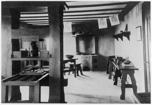 The reconstruction of Gutenberg's workshop, in the Gutenberg Museum at Mainz, Germany