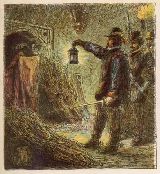 Guy Fawkes is discovered in the vaults under Parliament house and is apprehended Date: 1605