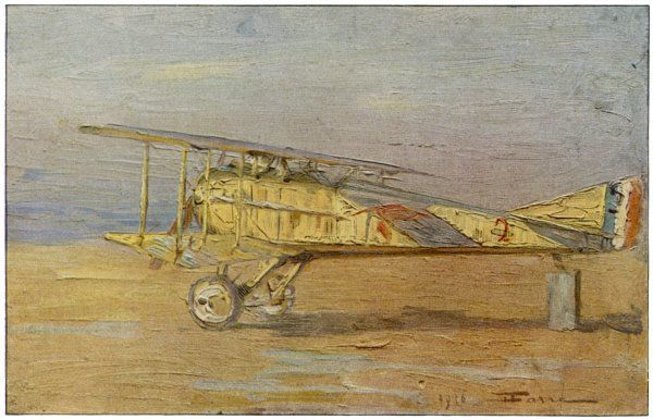 French ace Georges-Marie Guynemer's SPAD-VII fighter on which he has shot down many of the 53 enemy aircraft with which he is credited : at Manoncourt airfield