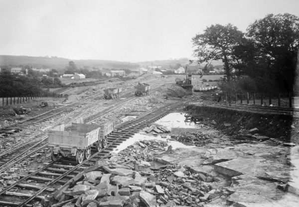 Construction work taking place on the Great Western Railway near the village of Pontlliw, near Swansea, Glamorgan, South Wales