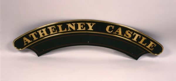 Great Western Railway nameplate for the locomotive Athelney Castle, built in 1948