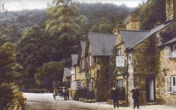 Gwynedd, Wales - Tyn-Y-Groes Hotel - near Dolgllau, Wales. The Tyn-y-Groes hotel is a 16th century coaching inn situated in the beautiful vale of Ganllwyd overlooking the Mawddach river in the heart of the Snowdonia National Park. Date: 1908