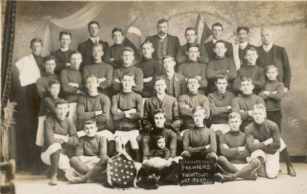 Gymnasium FC Premiers football team from Violettown in Australia 1908
