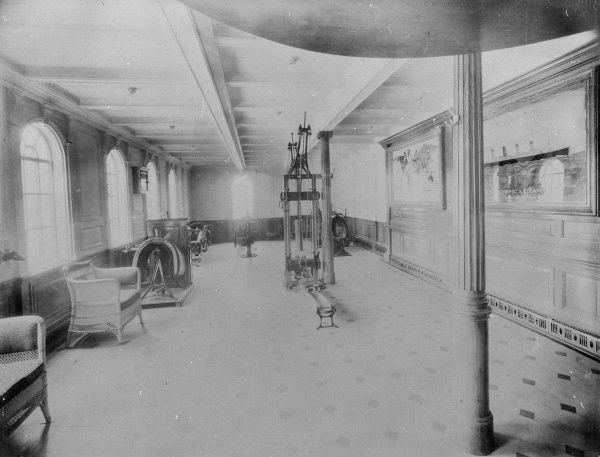 One of seven builder's photographs of the RMS Titanic interior, this one showing part of the Gymnasium. Date: circa 1912