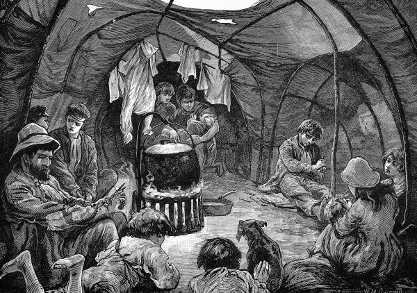 Sketches of Gypsy life: inside a tent on Mitcham Common