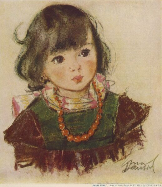 A sweet looking little girl with dark hair and eyes wearing a necklace of orange beads