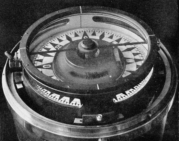 Photograph of a new Anschutz gyrostatic compass, February 1912. This type of compass was expected to significantly outperform previous compasses in its ability to give a consistantly strong true North reading