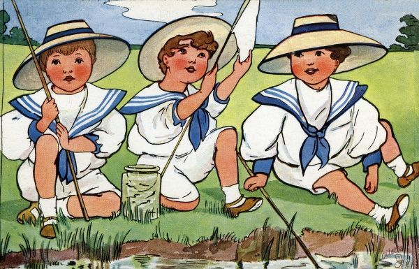 Edwardian boys fishing. Artist: Hilda Dix Sandford. Three young boys in sailor suits sitting and fishing on the river bank Date: circa 1908