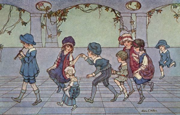 Skipping and tripping -- children playing.  20th century