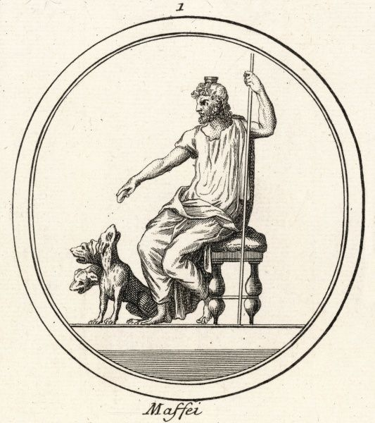 Hades (known to the Romans as Dis or Pluto) the God of the underworld, with his three- headed dog Cerberus