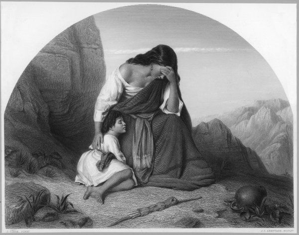Banished by Abraham, the servant-girl Hagar wanders in the desert with her son Ishmael until they are rescued by an angel