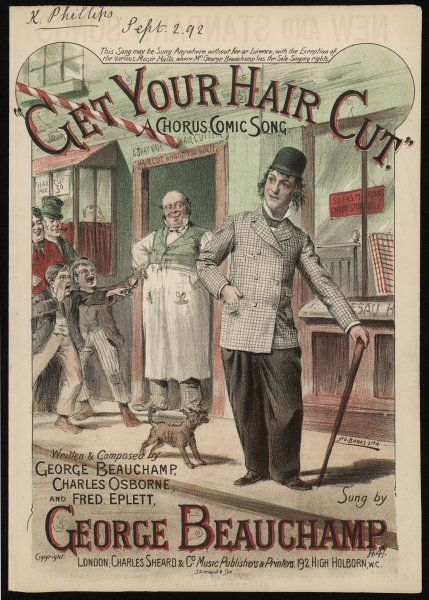 GET YOUR HAIR CUT A barber in his shop doorway and a group of people, including two jeering, pointing boys, ridicule a young man's long hair !