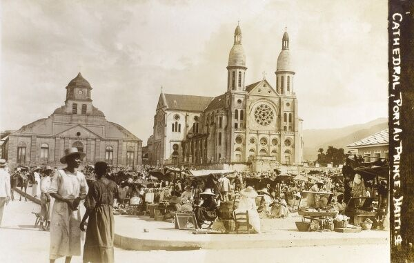 Haiti - Port au Prince - The Cathedral of Our Lady of the Assumption, destroyed by an earthquake in January 2010 Date: circa 1920
