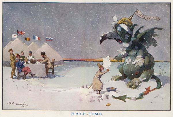 The Kaiser fans down the beleagured monster of Prussian militarism as the Allies enjoy a comfortable Christmas dinner in the opening months of World War One. Credit should read: Estate of George Studdy/Gresham Marketing Ltd./ILN/Mary Evans