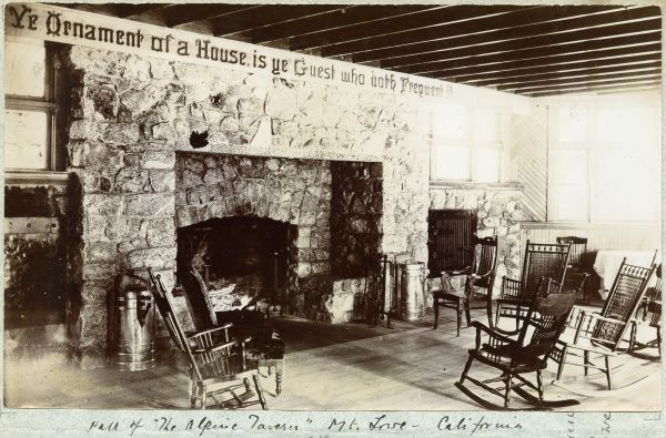 Hall of the Alpine Tavern, Mt, Lowe, California