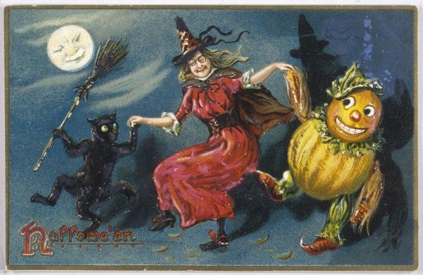 A witch dances with her black cat and a pumpkin