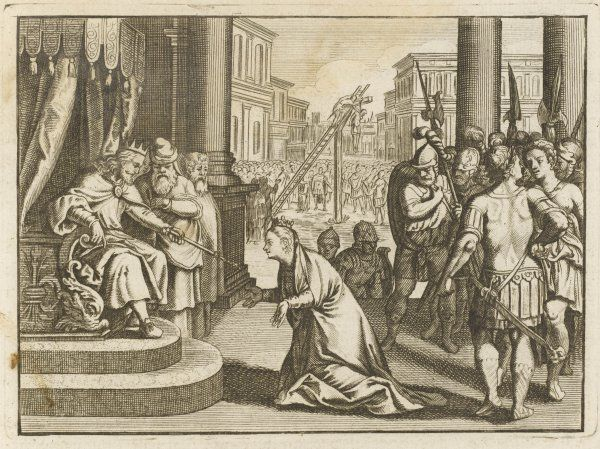 Haman, his scheming against the Jews revealed by Esther, Jewish wife of the emperor Ahasuerus, is hanged on the gibbet he had prepared for his Jewish opponent Mordecai