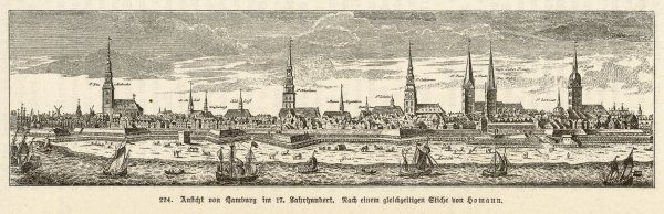Hamburg: panoramic view with boats and church spires