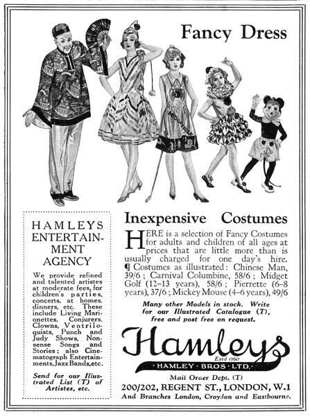 Advertisement for inexpensive fancy dress costumes available from Hamleys world-famous toy shop on Regent Street, London. Featured costumes include a Chinaman, 'minature golf' and Micky Mouse. Date: 1930