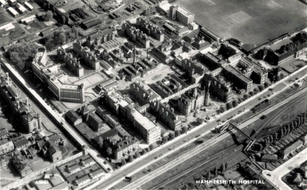 Aerial view of Hammersmith Hospital, Du Cane Road, Hammersmith, West London, originally opened in 1905 as the Hammersmith workhouse and infirmary. The infirmary (centre of picture) occupied the larger part of the site. The workhouse lay to its rear