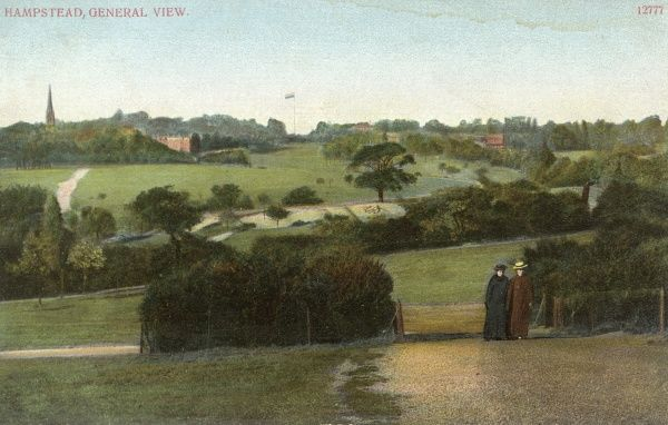 A general view of Hampstead with two small figures strolling together Date: 1906