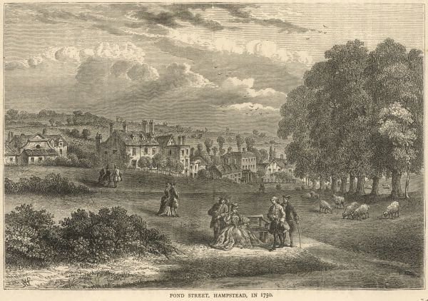 A rustic scene at Pond Street - Hampstead in the 18th century