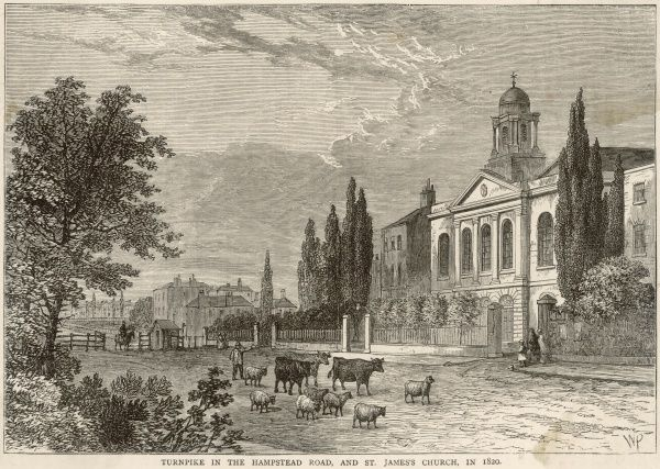 The turnpike, collecting tolls in the Hampstead Road : on the right you see St James' church