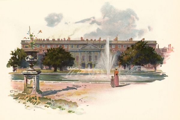 Hampton Court, with fountain Date: circa 1895