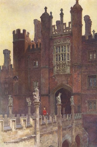Hampton Court: the Great Gatehouse, west entrance Date: circa 1908