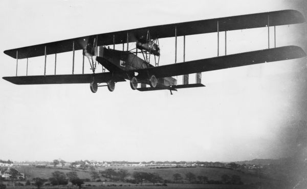 A British Handley Page V/1500 night-flying heavy bomber plane, built towards the end of the First World War. It carried a crew of eight or nine, and had four Rolls Royce Eagle VIII engines. Date: circa 1918