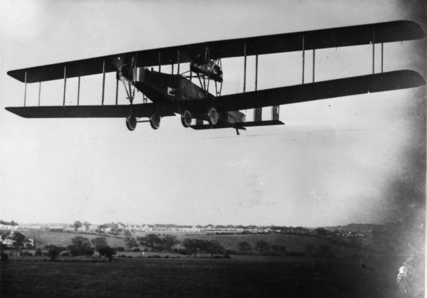 A British Handley Page V/1500 night-flying heavy bomber plane, built towards the end of the First World War. It carried a crew of eight or nine, and had four Rolls Royce Eagle VIII engines