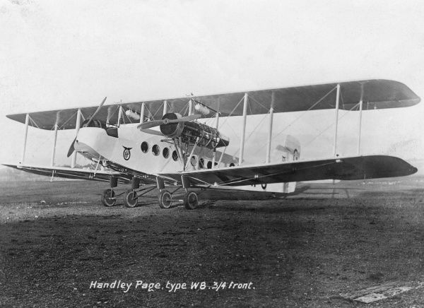 A British Handley Page W8 biplane airliner (also known as the HP18), designed for civilian transport, with space for two crew and up to 15 passengers. Date: circa 1920s