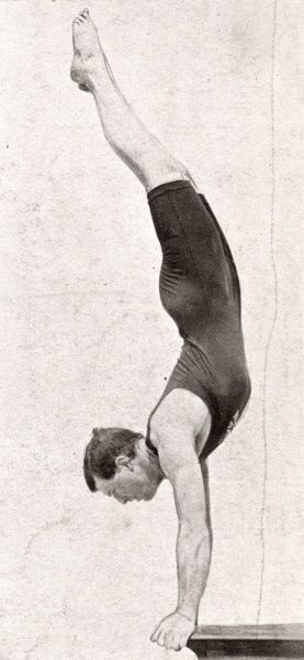 Clark of Great Britain performing a handspring dive at the 1906 Olympic Games in Athens