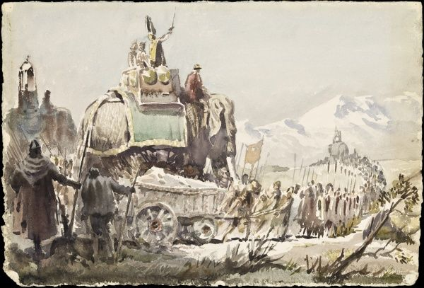 Hannibal and his army crosses the Alps - an epic overland journey from Carthage to Italy during the Second Punic War in Italy (218-203 BC). Two of Hannibal's war elephants are pictured. Watercolour painting by Raymond Sheppard