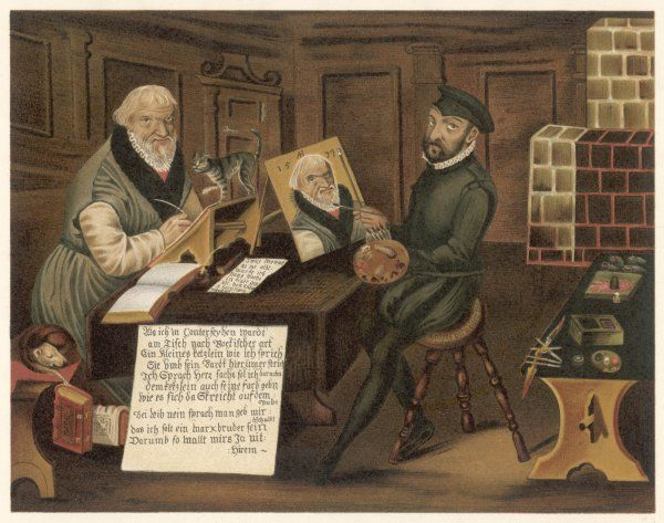 HANS SACHS German writer, depicted being painted, presumably by the painter of the picture