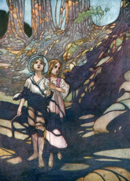 Hansel and Gretel by Charles Robinson. 'Hansel and Grethel in the forest'. A fairy tale by the Brothers Grimm
