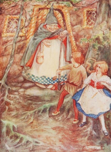 Hansel and Gretel by Lilian Govey. 'The door opened and a little old fairy came gliding out'. A fairy tale by the Brothers Grimm Date: 1912