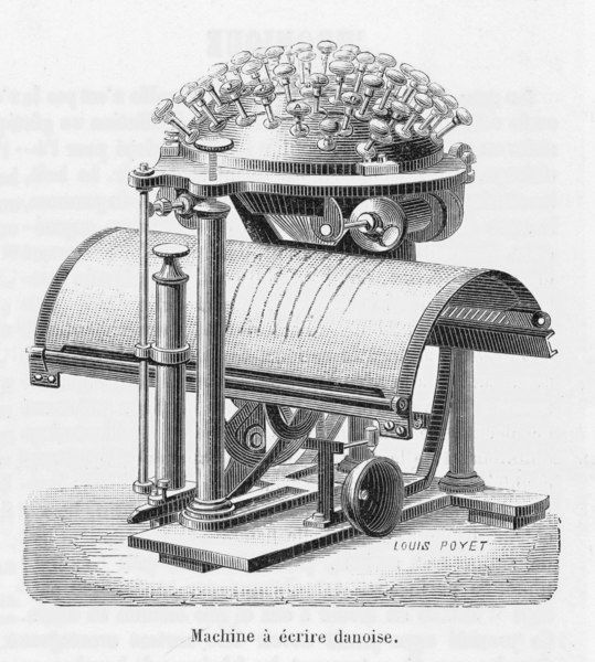 The remarkable typewriter invented by Rasmus Hans Malling Johan Hansen (1835 - 1890) in 1865, using a completely novel 'writing ball' system