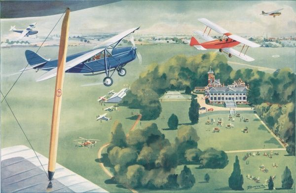 Illustration showing London's Country Flying Club, a mansion set in the middle of Hanworth Park