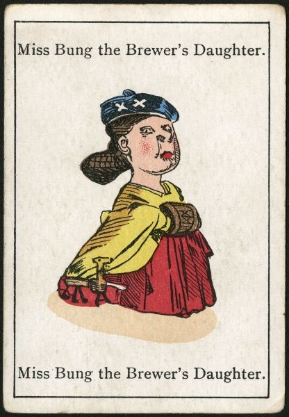 "Miss Bung the Brewer's Daughter, from ""Happy Families"" devised in Britain by Mr Jacques in 1861"